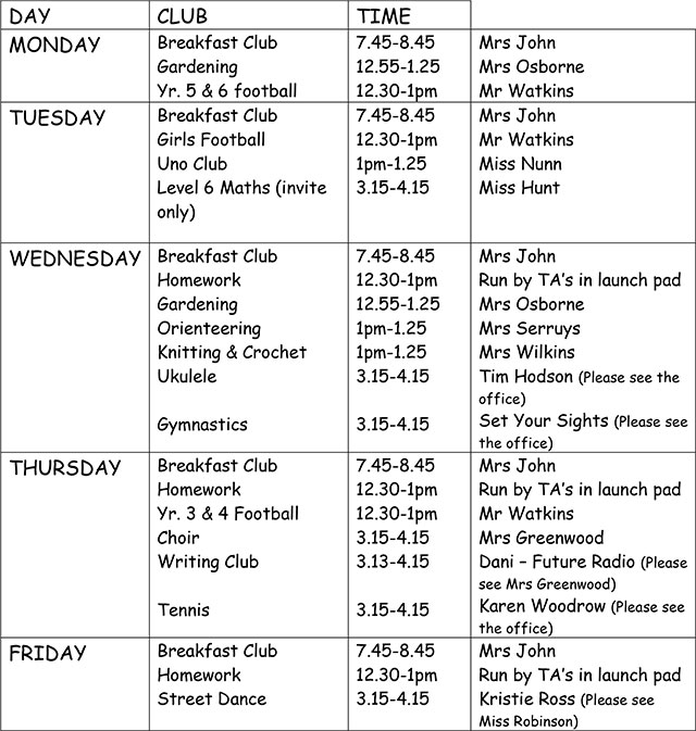 School Clubs List Club List Spring Term 2015