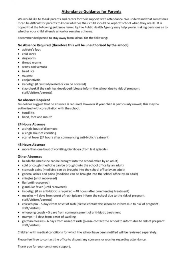 thumbnail of Attendance Guidance for Parents – November 2017